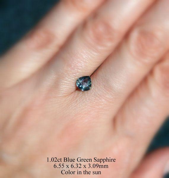Sapphire 1.02ct  Loose Natural Bluish Green Sapphire by AleaMariCo