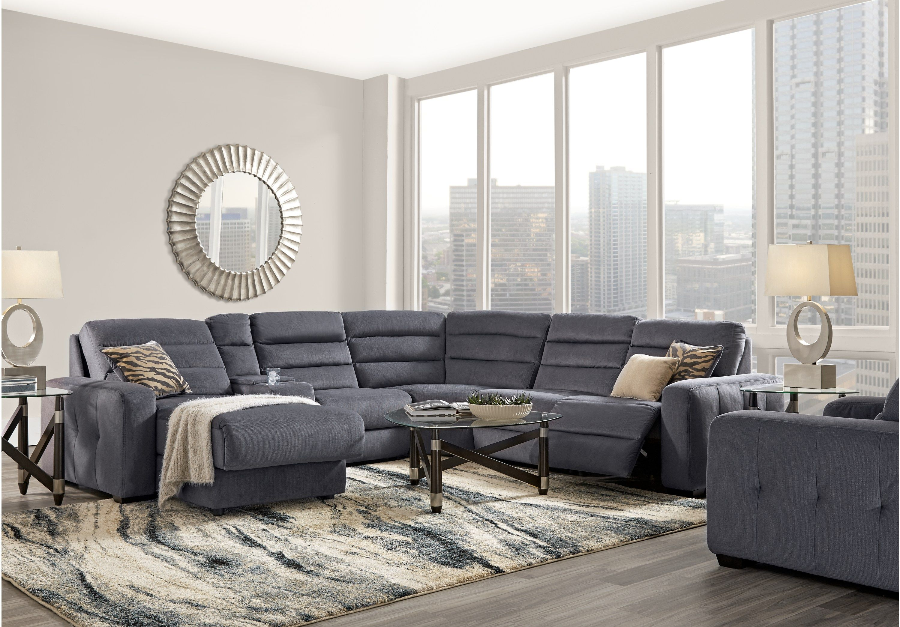 Runyon Canyon Navy 6 Pc Power Reclining Sectional Reclining Living Rooms Blue Living Room Recliner Living Room Sets Reclining Sectional #rooms #to #go #living #room #tables