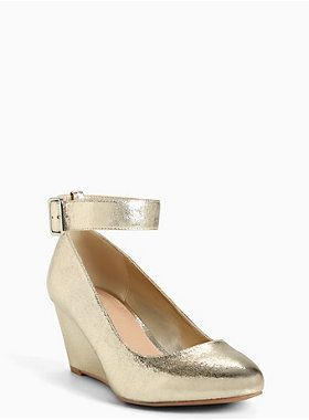 57e599b41f40 ... wide style shoes online. Shiny metallic gold wedge heels that look good  with a dress for Christmas or New Year s occasions.