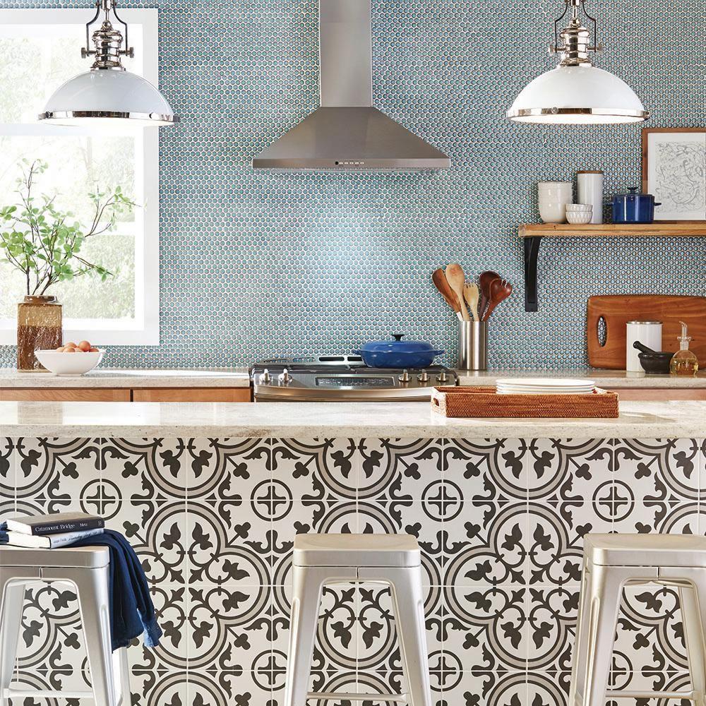 Merola Tile Arte Grey Encaustic 9 3 4 In X 9 3 4 In Porcelain Floor And Wall Tile 11 11 Sq Ft Case Fcd10arg In 2019 Kitchen Tiles Porcelain Wood Tile Wall Tiles
