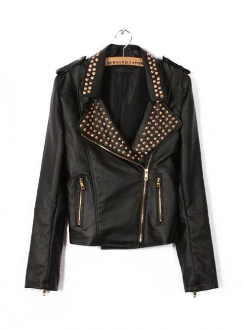 #Udobuy Fashion Black Rivet Jacket