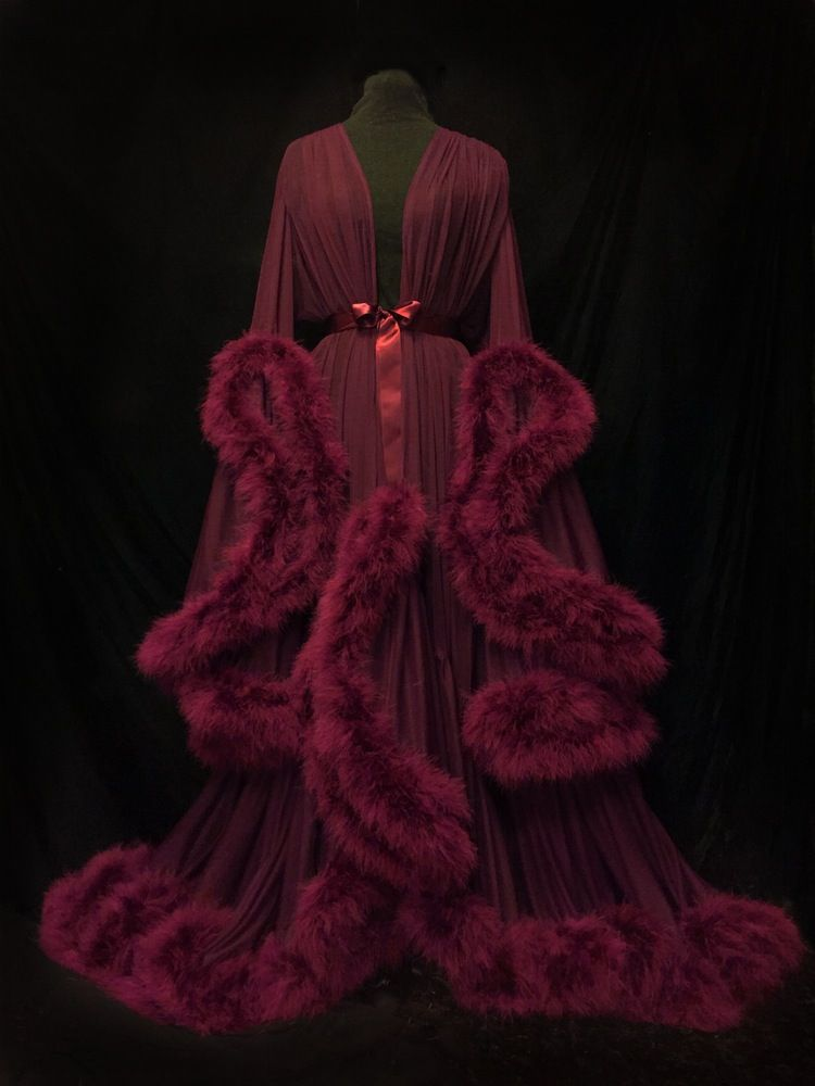 Luxurious Silk robe adorned with faux fur😻. Image of