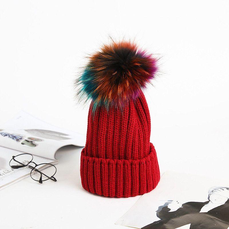 Women's Winter Hand Knit Faux Fur Pompoms Beanie Hat