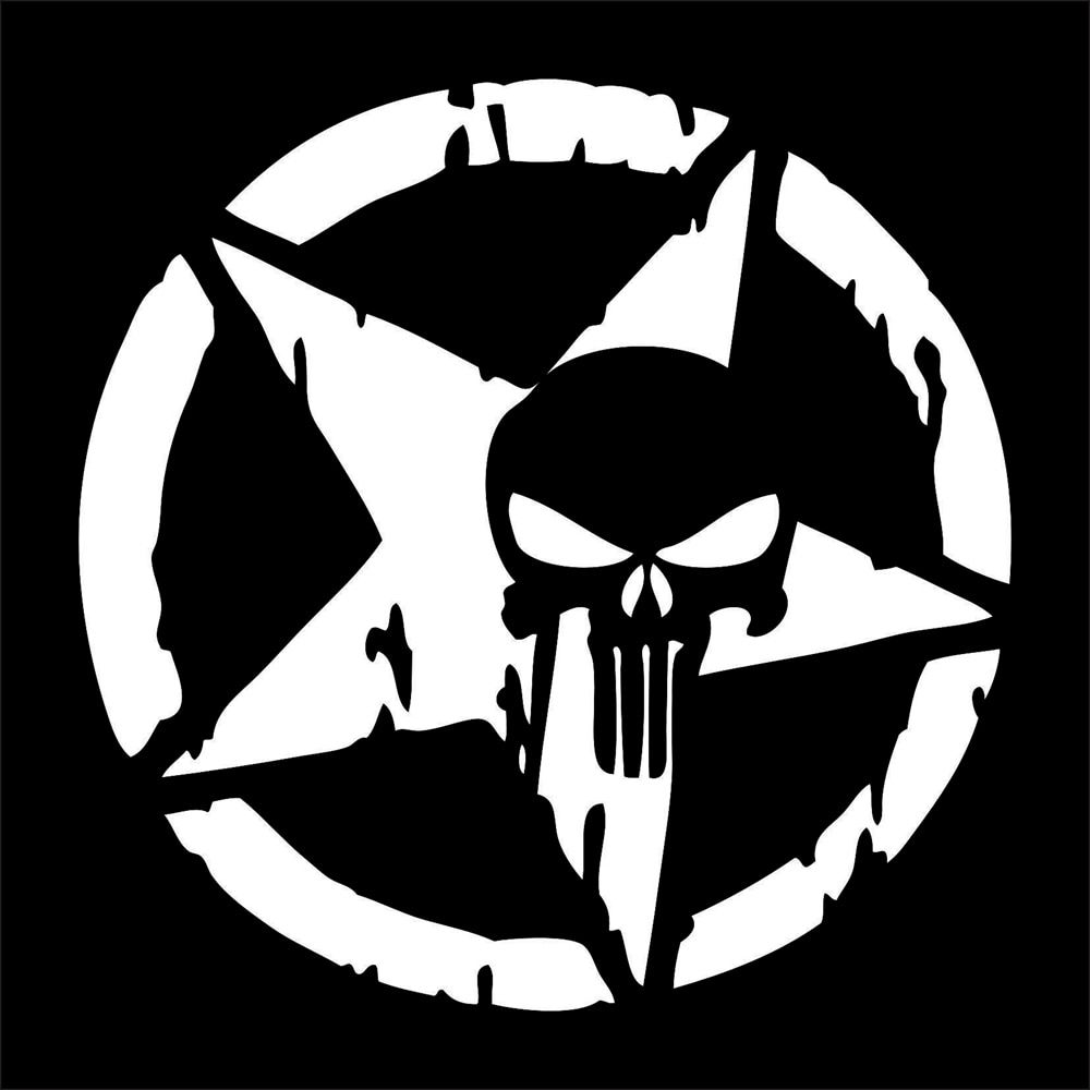 Product Punisher Skull Man Art Distressed Blood Hood Side Vinyl Decal Sticker For Car Track Suv 1