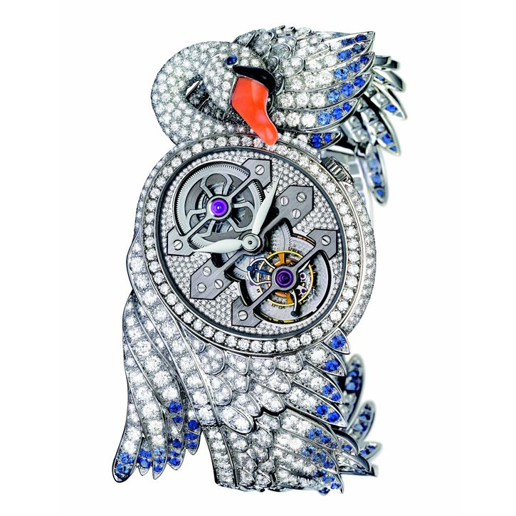 The Cypris Tourbillon with Three Gold Bridges in white gold, plumage paved with diamonds and blue sapphires, bird's beak set with coral and onyx (Three Gold Bridges Tourbillon of the Girard-Perregaux Manufacture) by Boucheron