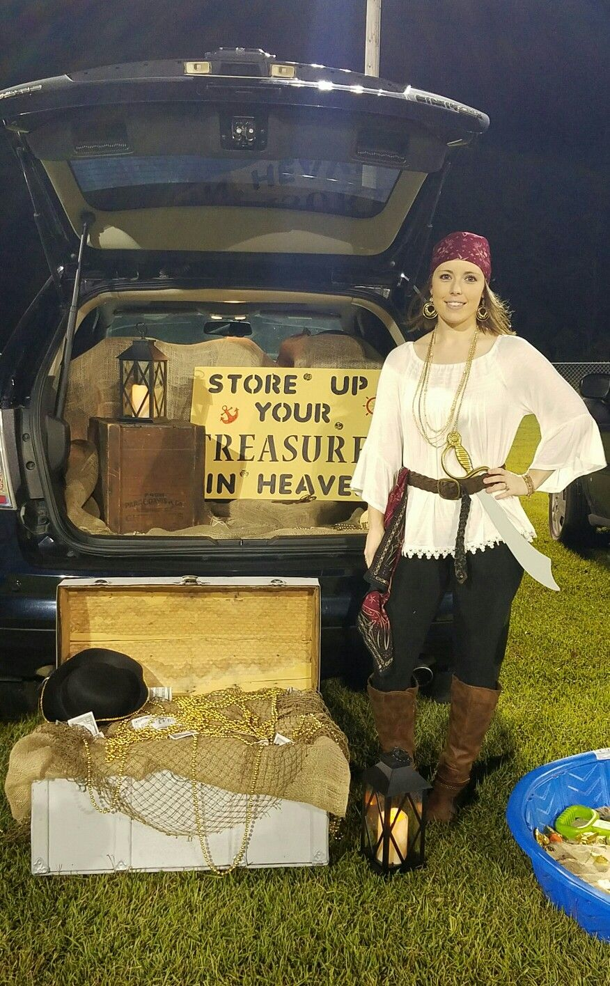 DIY Pirate Costume Pirate Themed Church Trunk or Treat (christian thanksgiving treats) #diypiratecostumeforkids