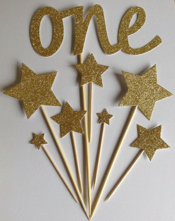 Gold 1st Birthday Cake Toppers Gold Glitter ONE Star Cake Toppers