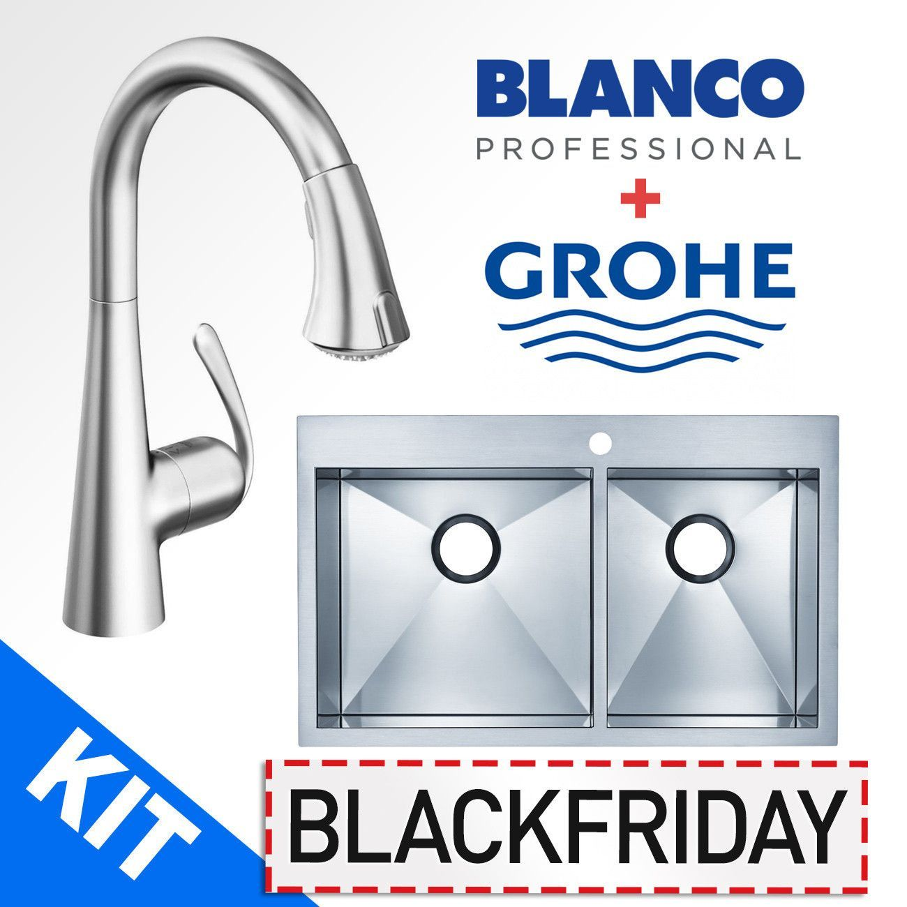 Blanco 516195 Kitchen Sink and Grohe 32298SD1 Kitchen Faucet Combo ...