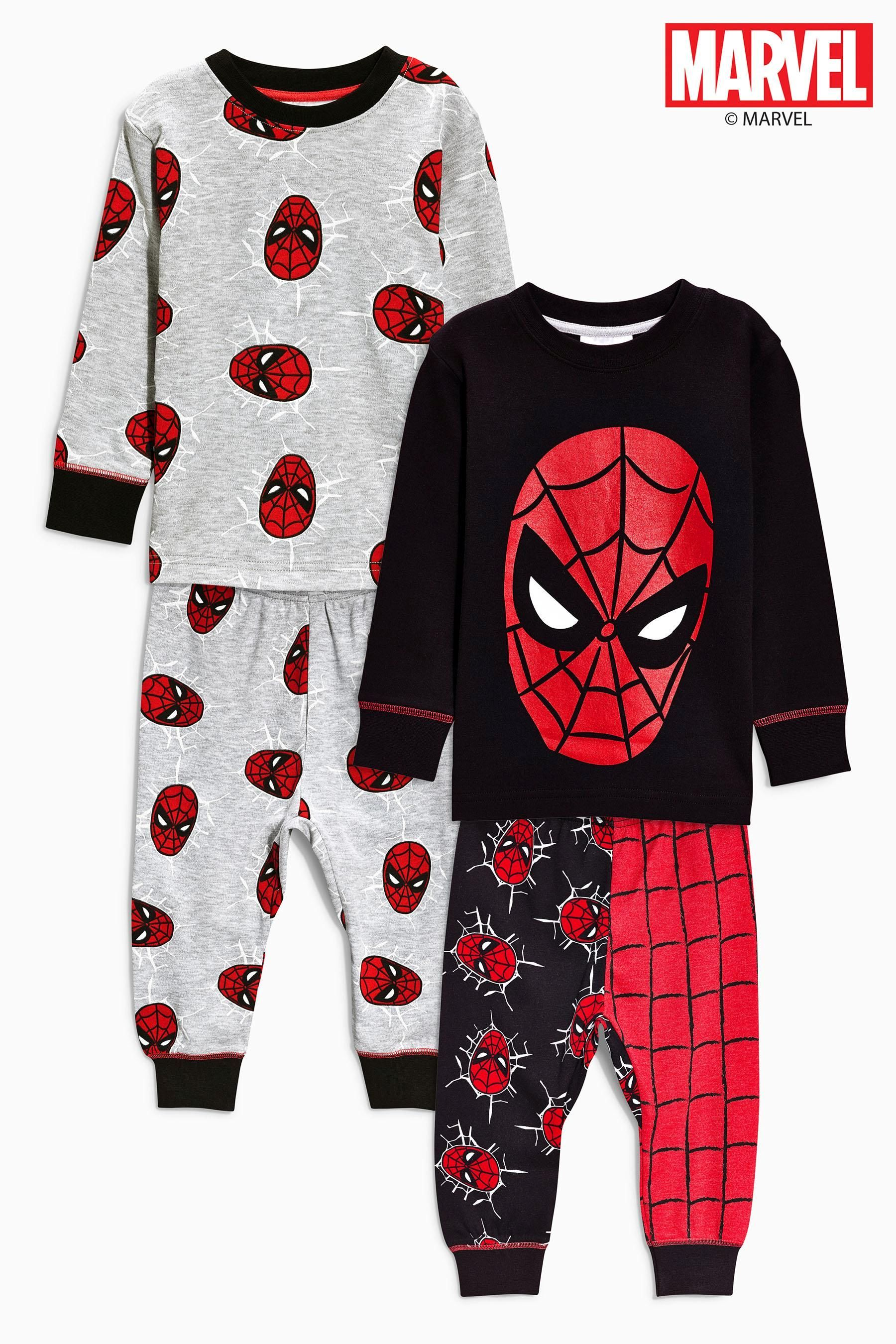 Buy Two Pack Spider Man™ All Over Print Drop Crotch Pyjamas 9mths