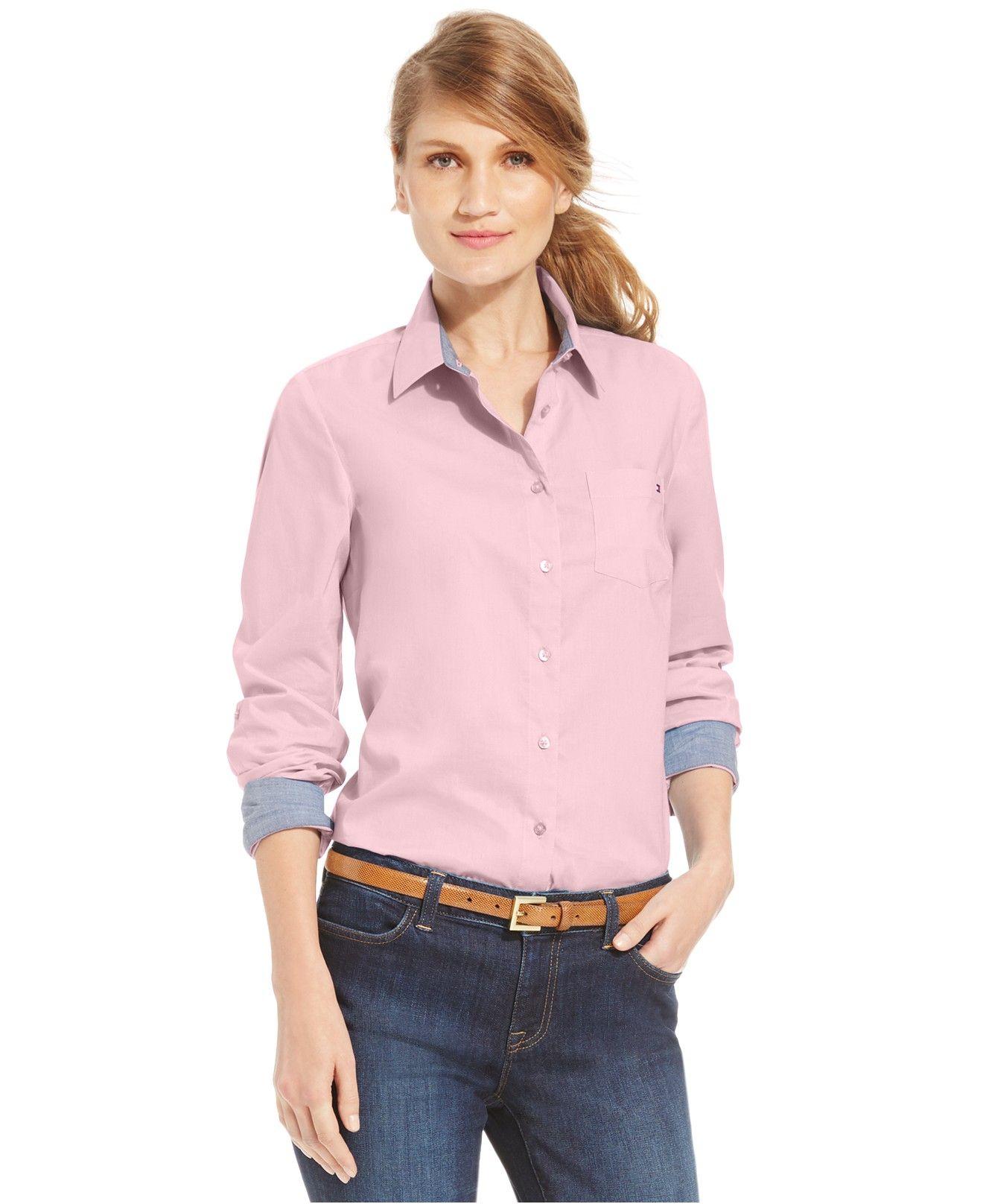 23d7f058dd233 Tommy Hilfiger Solid Button-Down Shirt - Tops - Women - Macy s ...