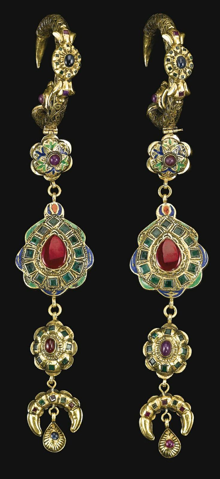 Morocco   Pair of gem-set gold 'Khros' earrings   18th century   Est. £40'000 - 60'000 together with the matching 'Lebba' necklace (Apr. '14)