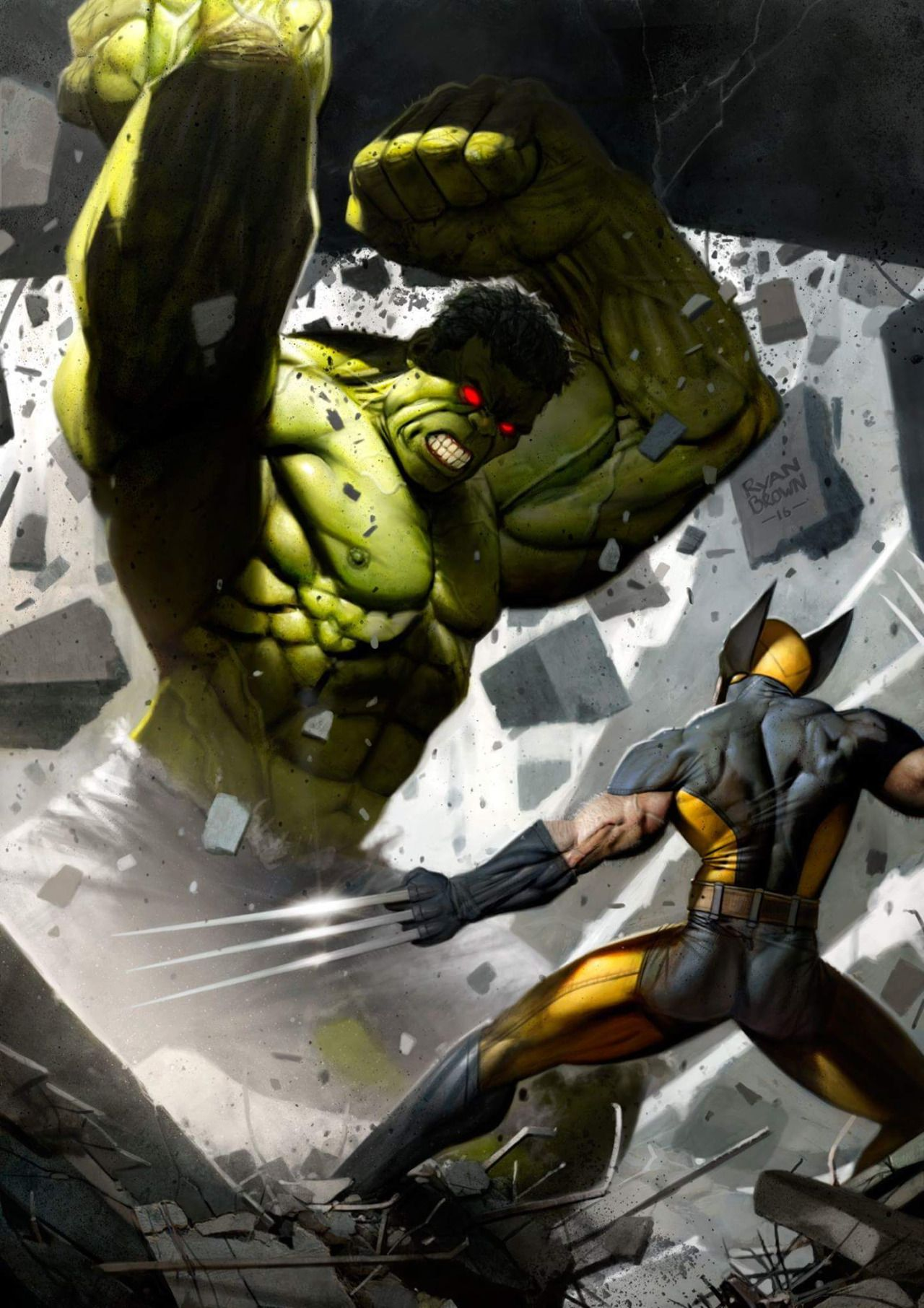 Hulk vs Wolverine by Ryan Brown