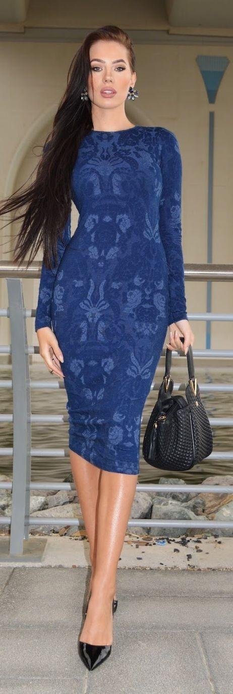#summer #fashionistas #laurabadura #klaudiabadura | Blue Printed Body-Con Dress