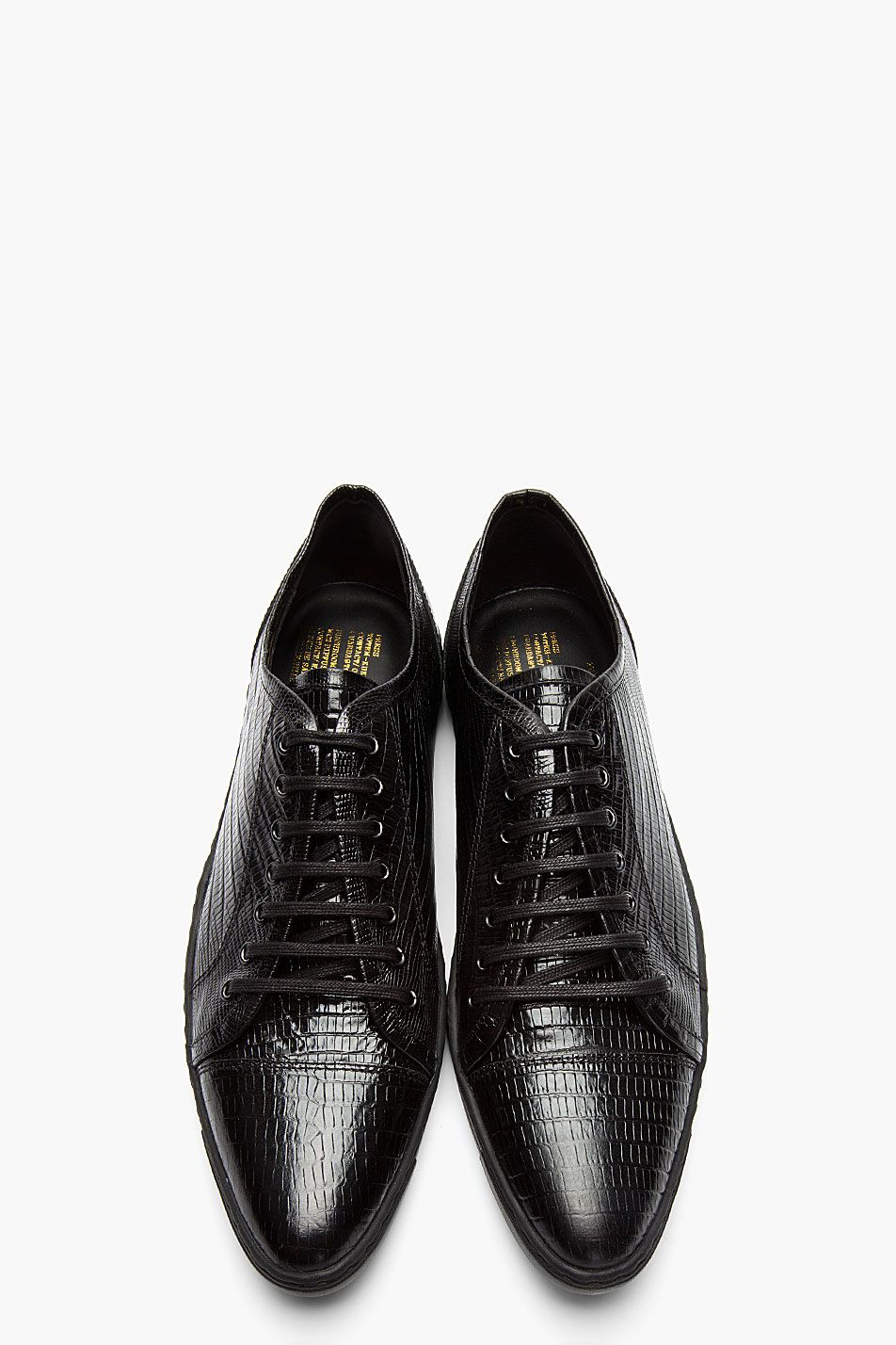06559ffb0df316 JUUN.J Black Patent Leather Croc-Embossed Dress Sneakers