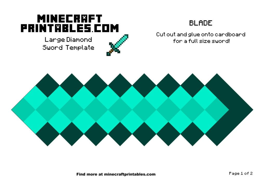 image relating to Minecraft Sword Printable named Diamond Sword Minecraft Printable Papercrafts Minecraft
