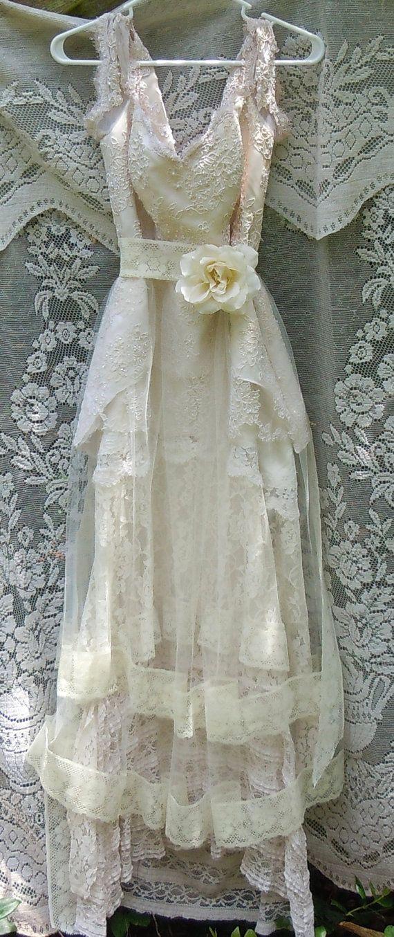Beaded wedding dress cream ivory lace tulle by vintageopulence