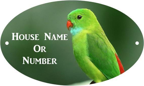 Parakeet Full Colour UV Printed Metal House Plaque