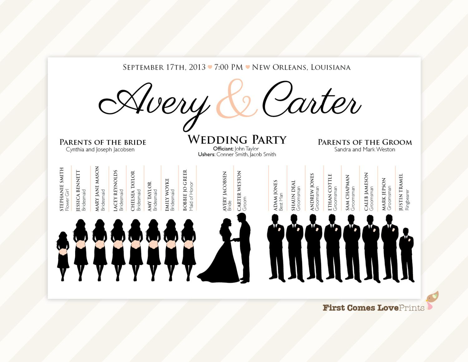 silhouette wedding program sign pdf design canvas printed