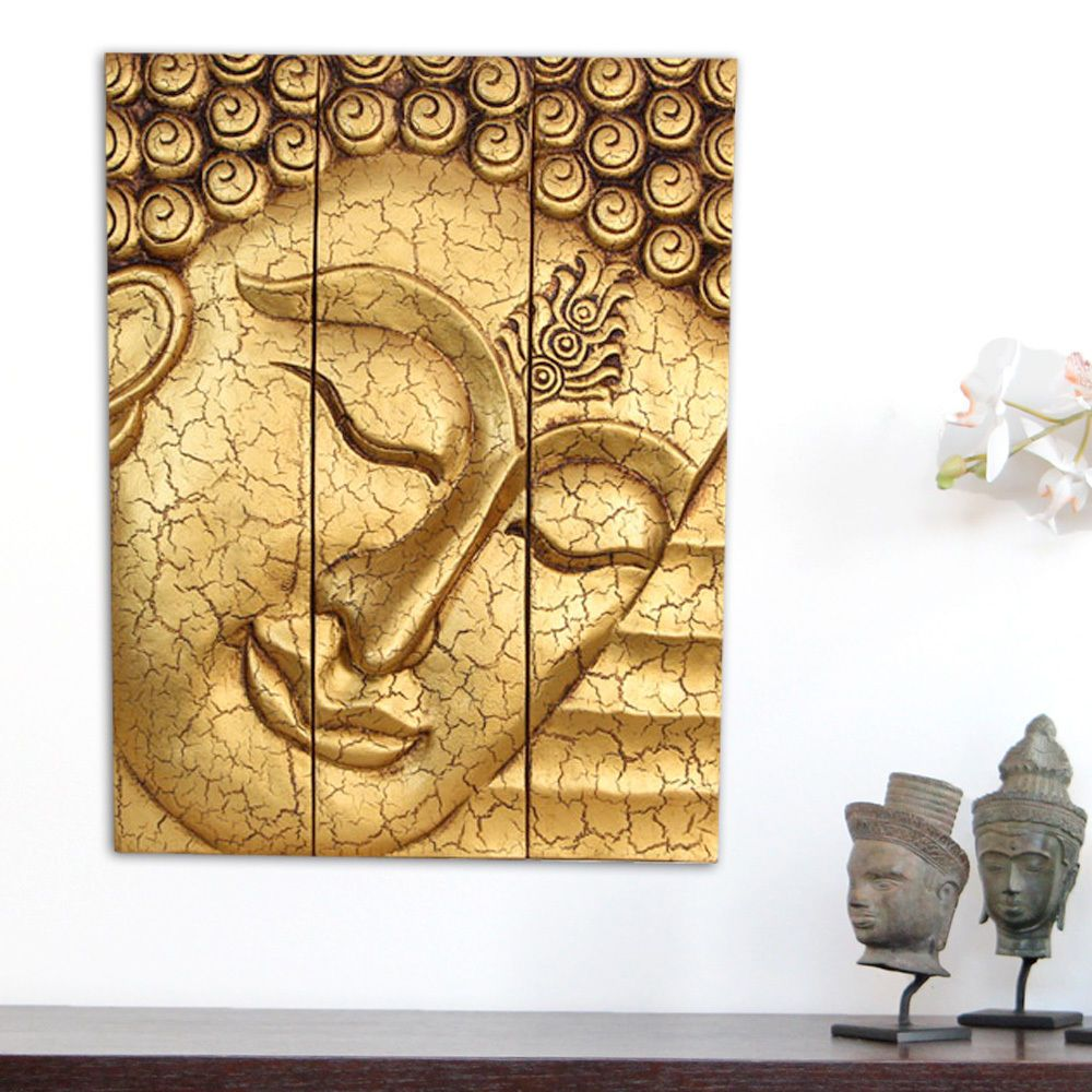 Large Thai Buddha Face Statues Carved Wooden Wall Art Hanging Panels ...