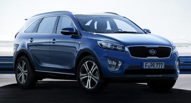 Future Cars Kia S Next Sorento Suv Bulks Up For The School Run Carscoops Kia Sorento Kia Sorento