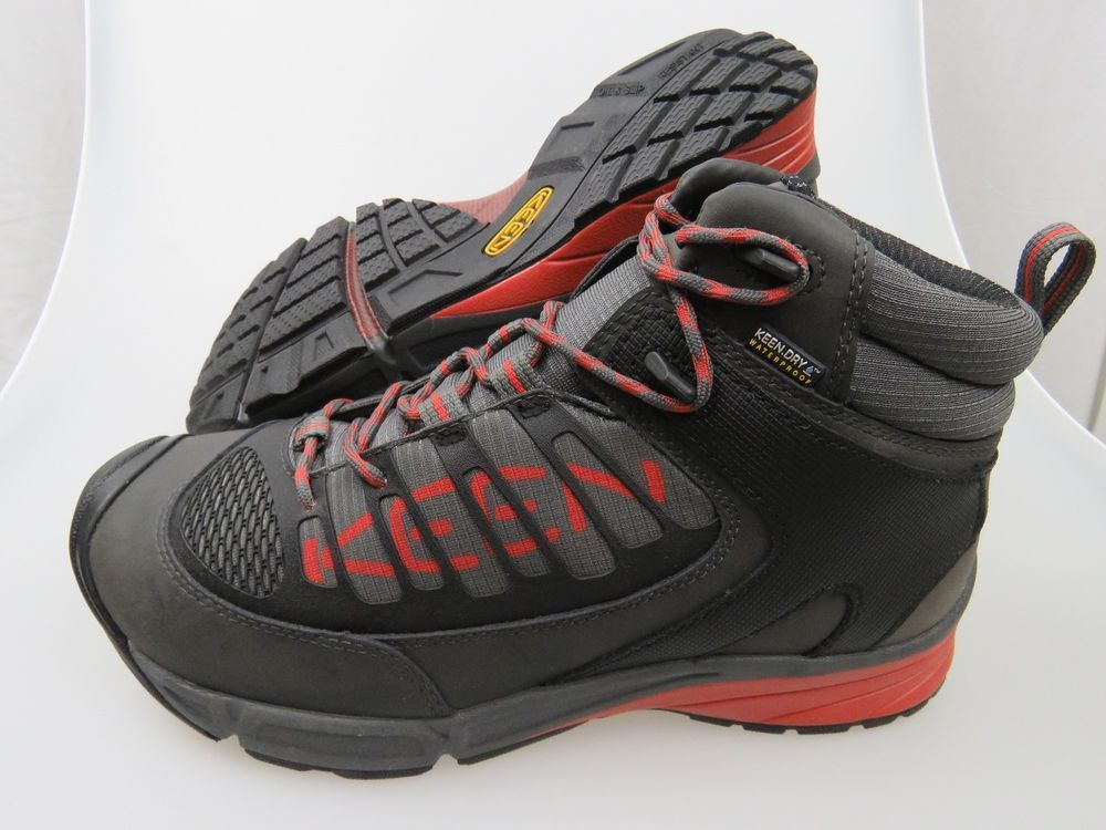 KEEN Aurora Mid Steel Toe Gray Red Black Men's Work Shoes Boots NEW *Pick Size* #KEEN #WorkSafety