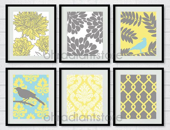 Yellow Grey Bird Flower Digital Printable Wall Decor Art Print Set ...