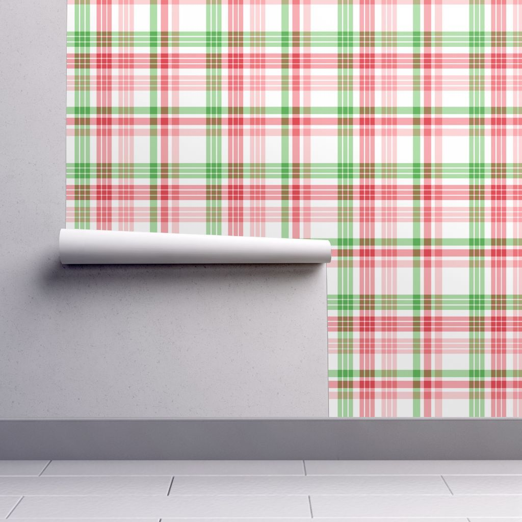 Wallpaper Green, Red, White, and Pink Plaid Plaid
