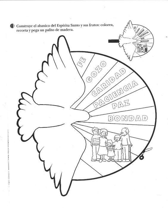 Abanico Del Espiritu Santo Para Armar Y Recortar Dibujos Cristianos Catequesis Pentecostes Escuela Dominical Para Ninos