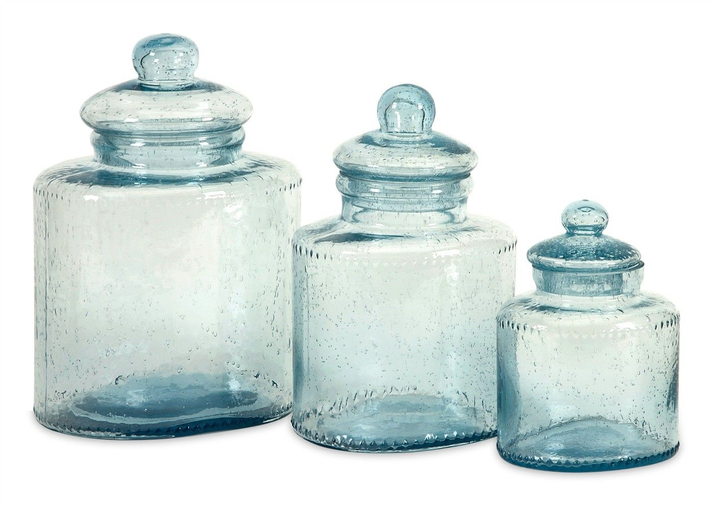 Cyprus Glass Canister - Set of 3 - What\'s New? | Turquoise Sea Home ...