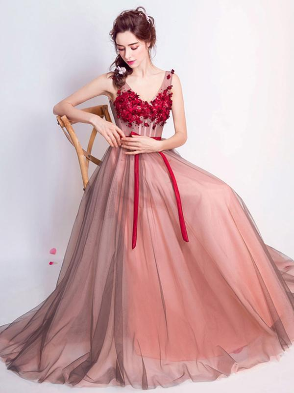 Prom dresses long lace, Red lace prom dress