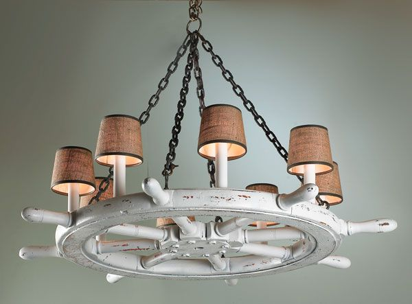 LightsShip wheel chandelier  You can see it in a room here  http www  . Nautical Indoor Ceiling Lighting. Home Design Ideas