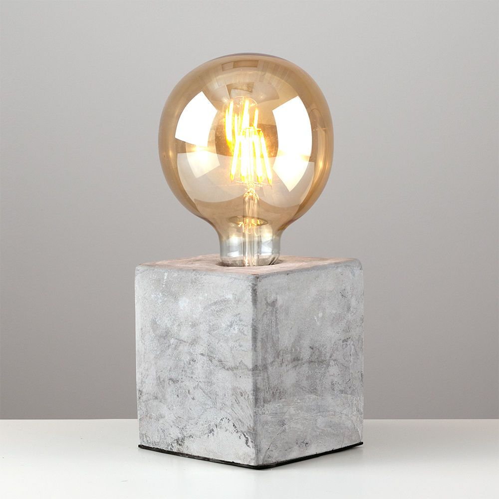 Industrial Style Concrete Cement Cube Edison Table Lamp Bedside Bulb Light