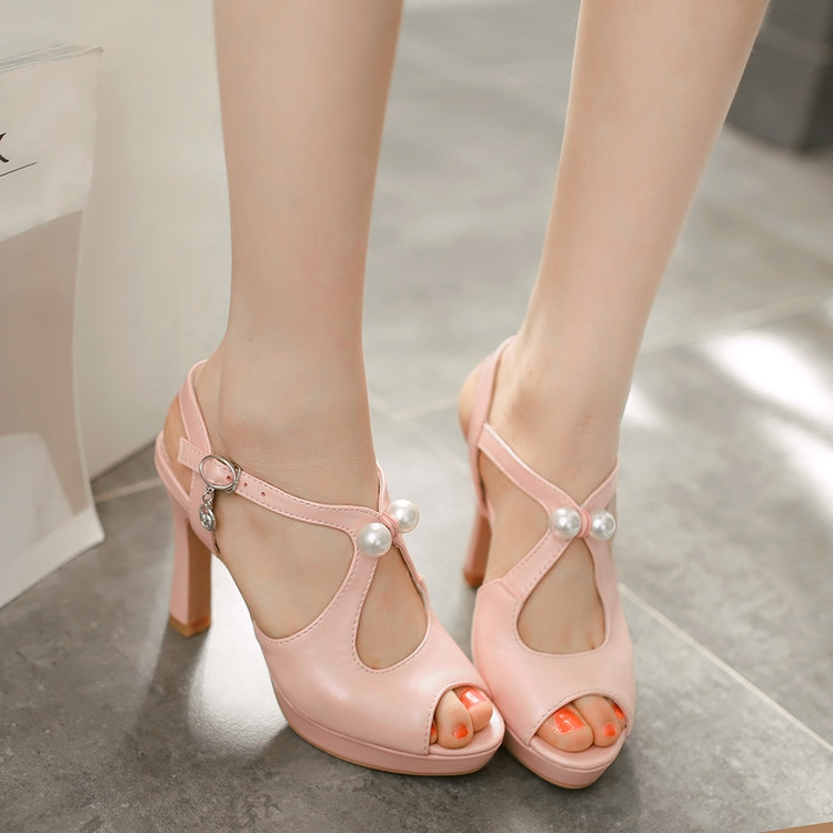 29.99$  Watch now - http://ali7g7.shopchina.info/go.php?t=32617700718 - summer women sandals small yards 31 32  sexy high heels coarse female club women shoes big size 40-43 Rome Beaded fish mouth  #magazineonline