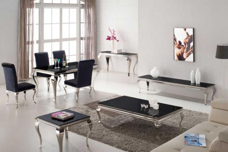 Vida Living Louis Coffee Table Black Glass And Chrome Fabric
