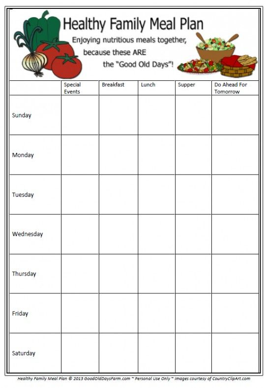 Free Meal Planning Printable  Planner Prints    Menu