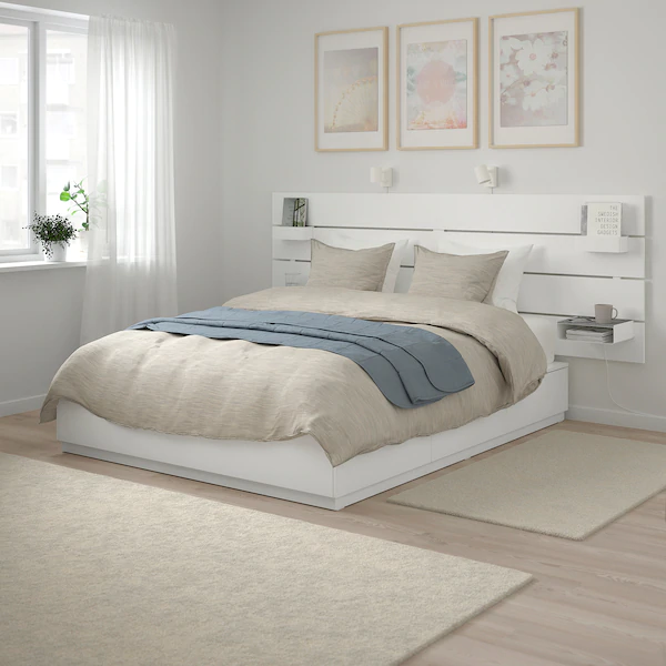 Nordli Bed With Headboard And Storage White King Avec Images