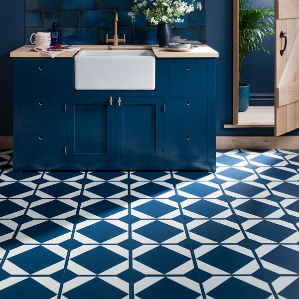 Dovetail Oxford Blue | Blue bathroom tile, Blue tile floor ...
