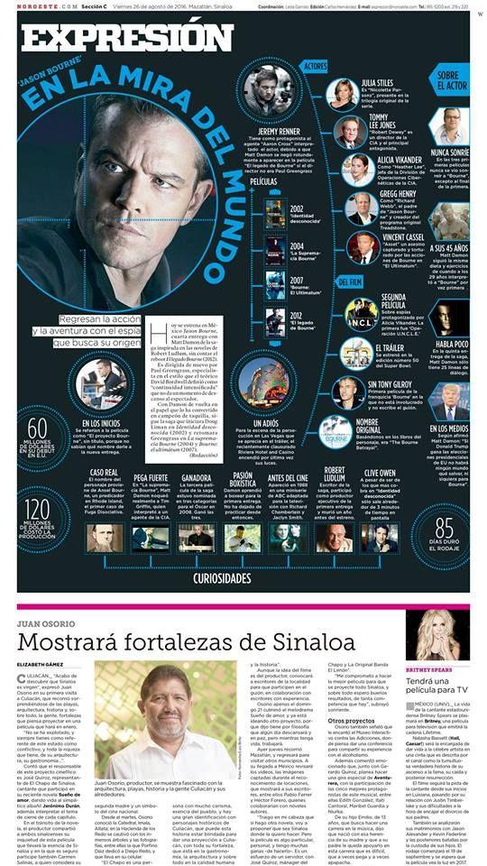 """Diseño editorial: """"Jason Bourne, en la mira del mundo"""", Antonio Cruz del diario Noroeste de Sinaloa, México nos comparte este estupendo trabajo."""