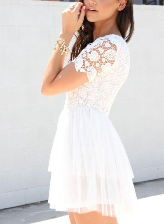 White Crochet Dress ❁