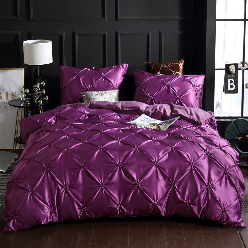 Dark Purple Bedding Pintuck Silk Like Satin Duvet Cover