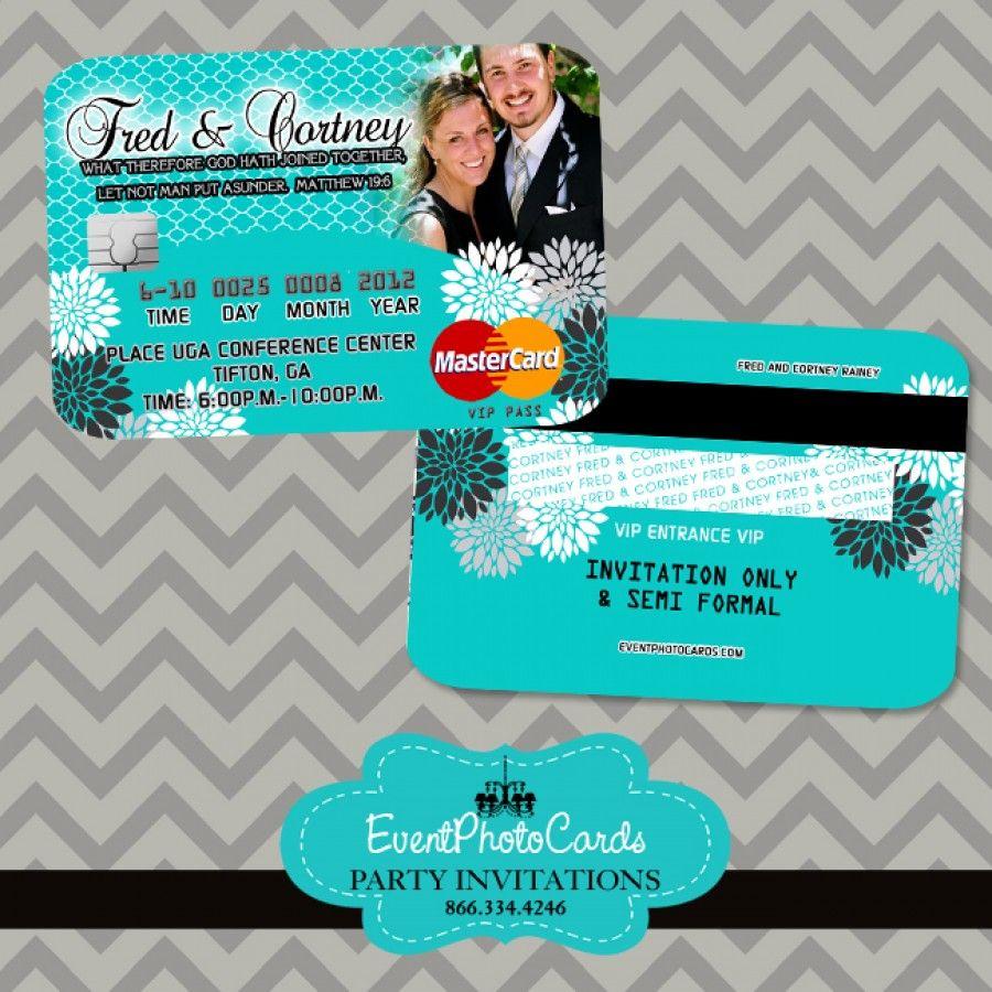 Turquoise Wedding Invitations - Credit Card Invites, Elegant