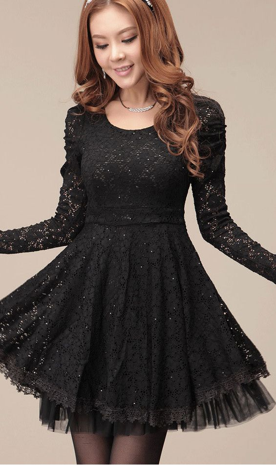 Black Lace Dress With Long Sleeves