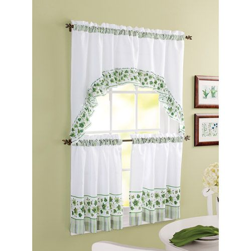 Better Homes And Gardens Ivy Tier Window Set Green Green Kitchen Curtains Kitchen Curtain Sets Curtains