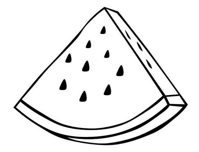 A slice of watermelon coloring sheet