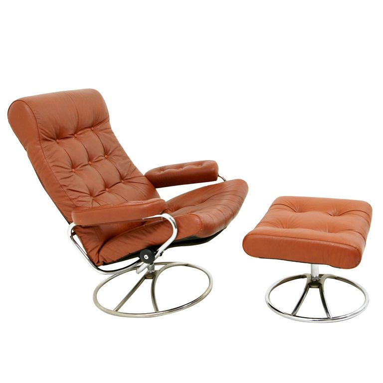 Original Leather Stressless Swivel Lounge Chairs By Ekornes