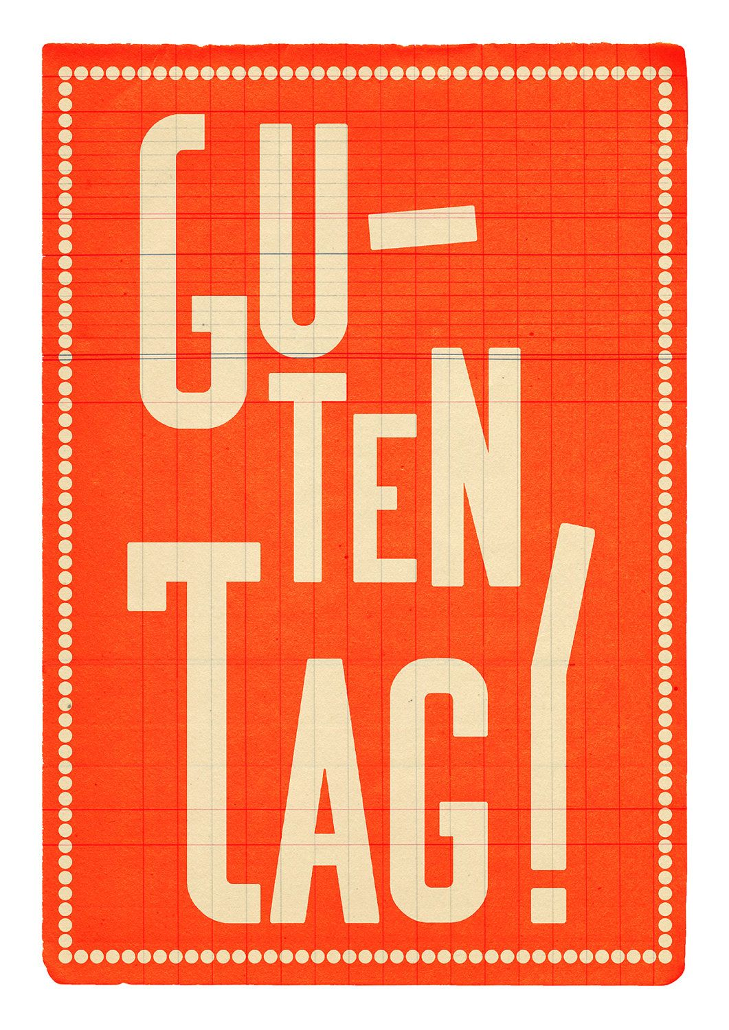 German Large Print X A3 Guten Tag Orange By
