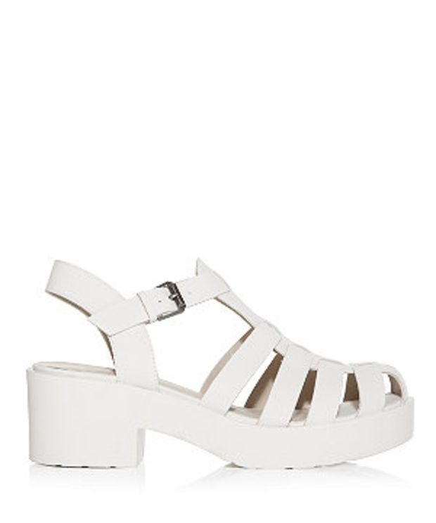 White Caged Chunky Block Heel Sandals   Chunky sandals