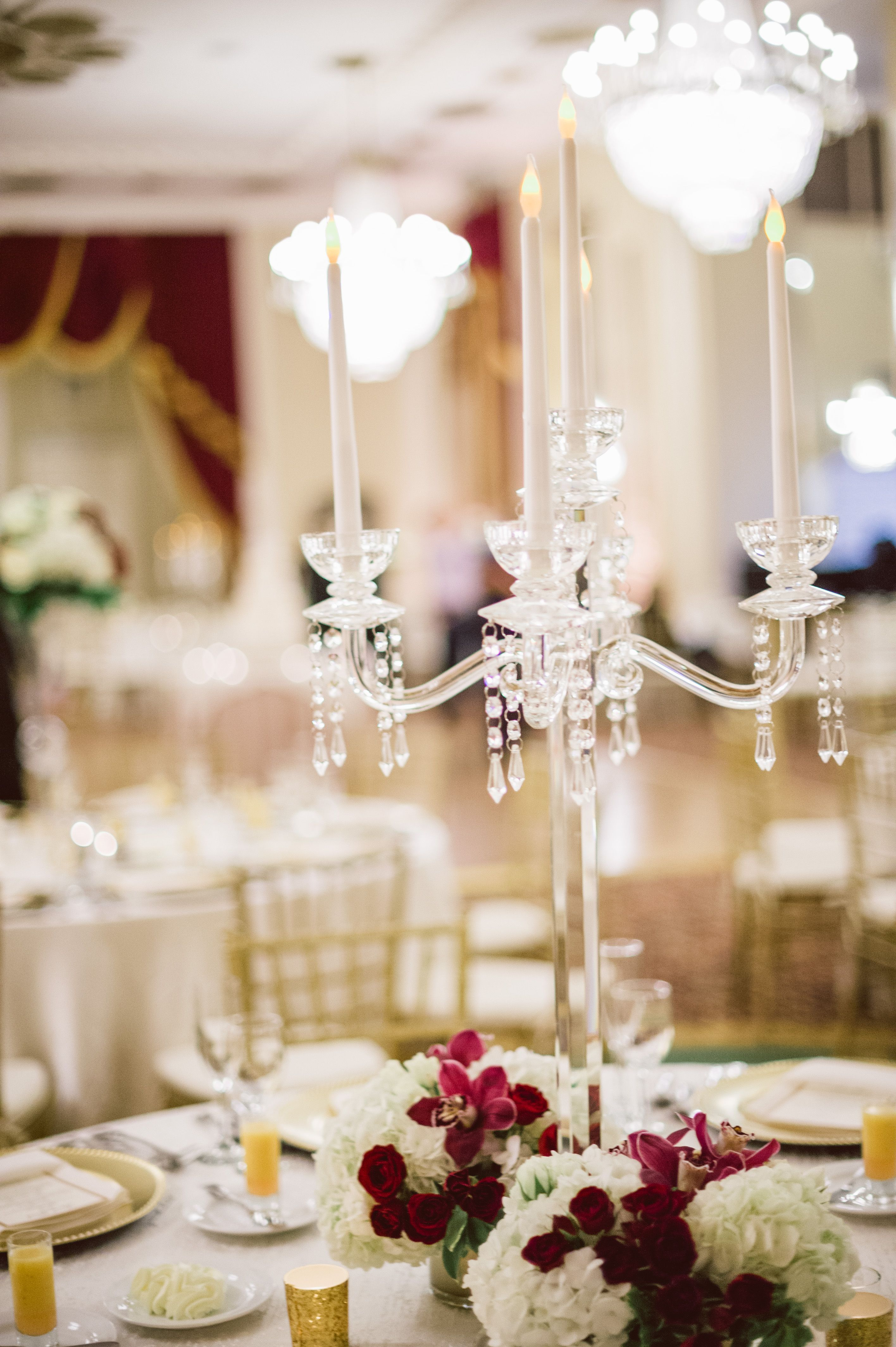 crystal candelabra gold wedding red and white wedding fall