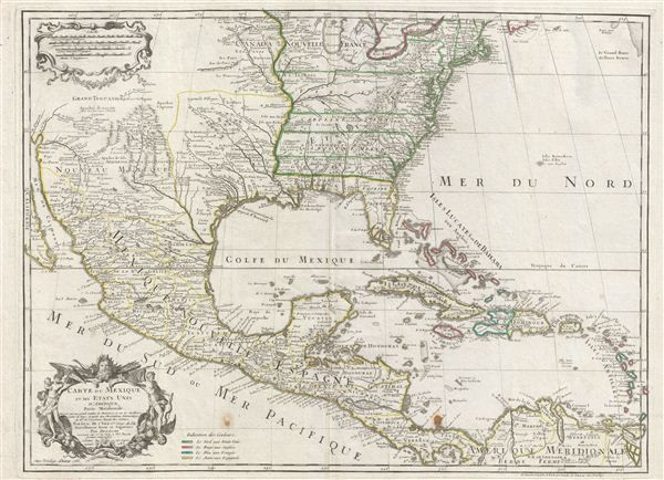 Carte du mexique et des etats unis damerique partie meridionale antique map of mexico usa and the west indies 1783 sciox Image collections