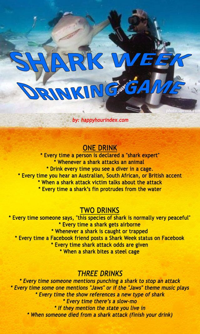 Shark Week Drinking Game Shark Week Shark Week Party Shark Week Drinks